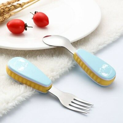 Baby Toddler Cartoon Fork and Spoon Utensil Feeding Training Child Tableware Set