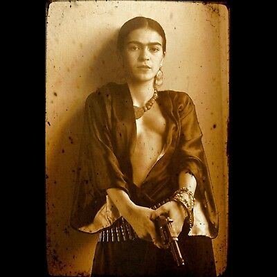 Frida Kahlo Mexican with Gun Vintage poster art home decor photo print 24x24 in