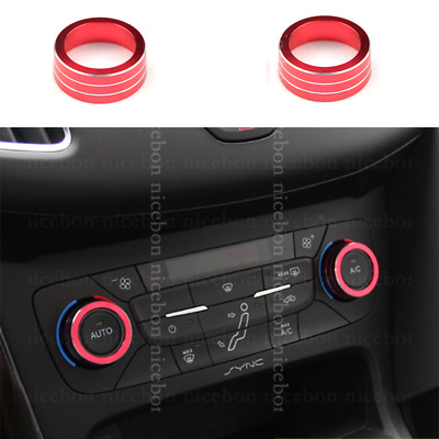 2pcs red Aluminum Alloy Air-Condition Button Cover For Ford Focus Escape Kuga