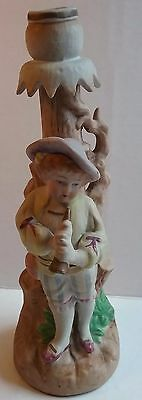 Vintage/Antique Bisque Boy Porcelain/Ceramic? Candlestick Holder