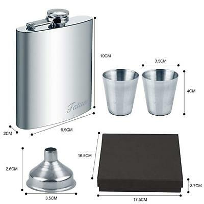 Portable 7oz Stainless Steel Hip Flask Liquor Whiskey Drink + Cups Flask Funnel