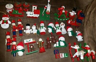Vintage Wooden Christmas Tree Ornaments Lot Of 30+ Wood Nutcrackers Bears Horses