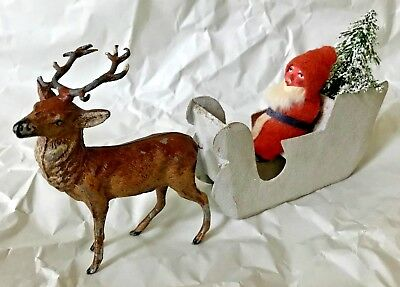Antique VTG Santa Candy Container Sled Metal Deer German Christmas Decoration