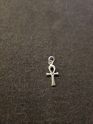 "1/4"" ankh charm of silver tone no chain very dainty and cute pendant"