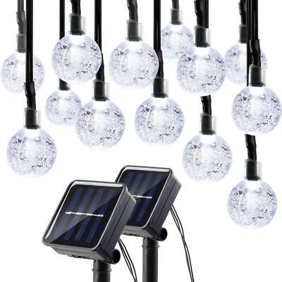 Lumitify 2 Pack Globe Solar String Lights Outdoor, 19.7ft 30 LED Fairy Crystal