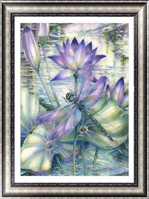 AU Flower Dragonfly 5D Full Drill Diamond Painting Embroidery Cross Stitch Decor