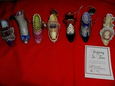 """Lot Of 7 Ashton Drake Heirloom Shoe Ornaments """"stepping In Time"""" Gently Preowned"""