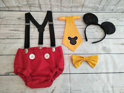 CAKE SMASH mickey mouse TRADITIONAL  PHOTO 1ST BIRTHDAY PARTY BABY BOY  EARS