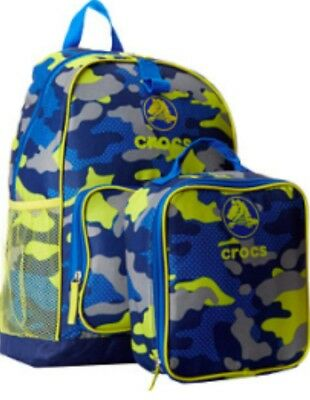 Crocs Backpack With Matching Lunch Box Bag Blue Yellow