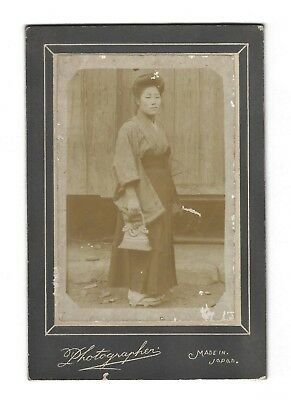 Old Vintage Japanese Cabinet Card Photo Pretty Young Lady Woman Girl Japan
