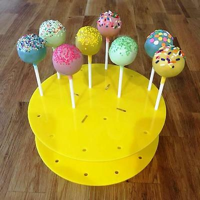 """Round Yellow Acrylic Cake Pop Stands 21cm 8"""" (16 Holes) or 30cm 12"""" (32 Holes)"""