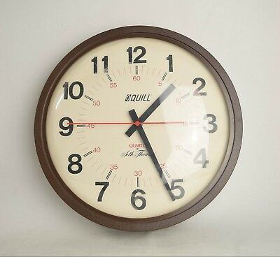 Vintage Large Silent Wall Clock Work Office Style Quill Quartz by Seth Thomas