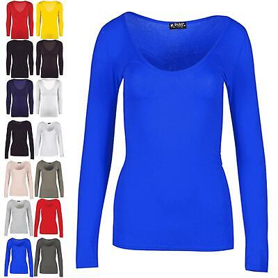 Ladies Women Summer Scoop Neck Jersey Casual Long Sleeve Slim Fitted T Shirt Top