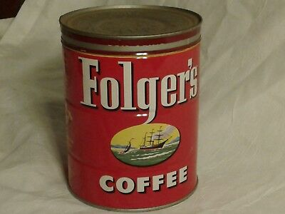 Old coffee cans, metal tin can Folgers collectible lid rare nice antique good 2