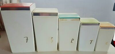 Nally Vintage Retro Kitchen Canister Storage Set Harlequin Colours