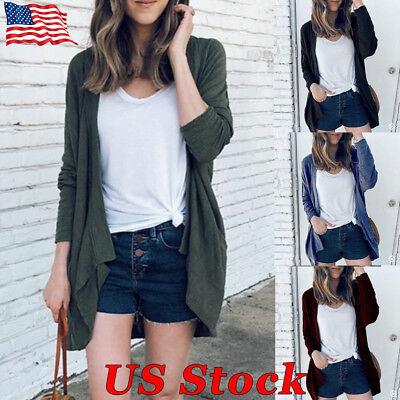 Women's Long Cardigan Sweater Patchwork Open Front Long Sleeve Loose Casual Coat