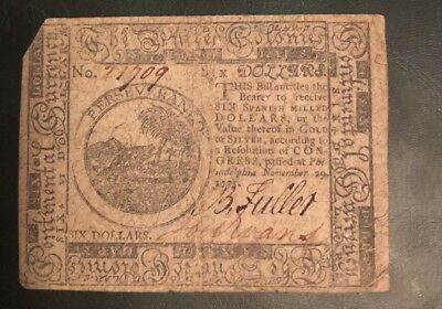 Colonial Currency Philadelphia $6 Bill