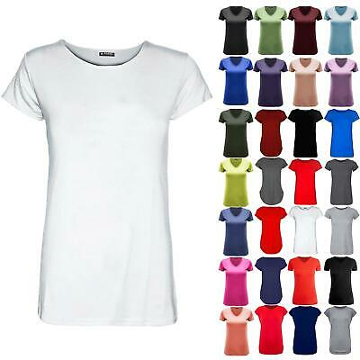 New Womens Ladies Round Neck Plain Casual Stretchy Tee Basic Jersey T Shirt Top