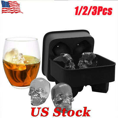 Whiskey Silicon Ice Cube Maker Mold Mould 3D Skull Brick Halloween Party Tray
