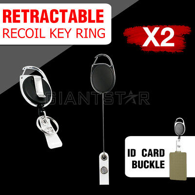 2PCS Recoil Retractable Key Ring Belt Pull Chain Reel for ID's Card Holder