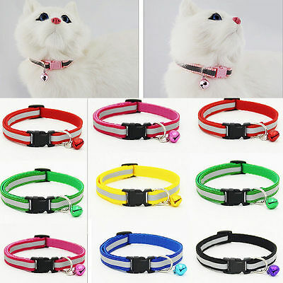 Adjustable Reflective Breakaway Nylon Cat Safety Collar Bell for Cat Kitten A+