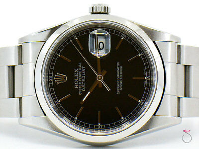 Rolex DateJust 16200 Stainless Steel, Smooth Bezel 36 mm, Black Slate Dial