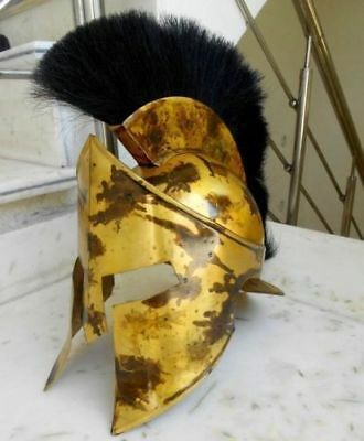 Medieval King Leonidas Roman Spartan 300 Movie Helmet W/black Plume Halloween