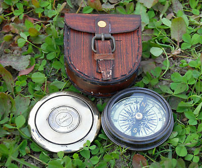 Vintage Robert Frost Antique Brass Poem Compass with Leather Case.