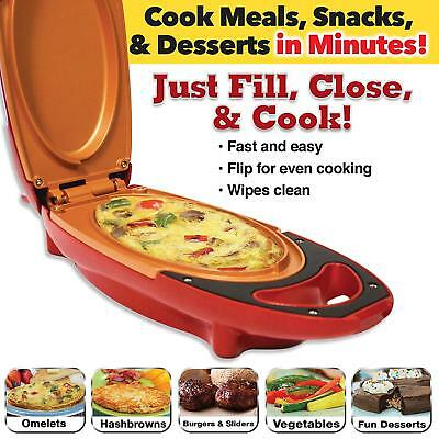 Red 5Minute Chef - Omelette Pan Smokeless The Non-stick Omelette Maker Cooker LL