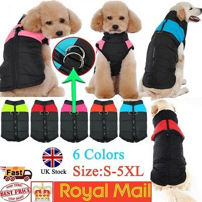 Waterproof Pet Dog Clothes Winter Autumn Warm Padded Coat Vest Jacket Apparel UK