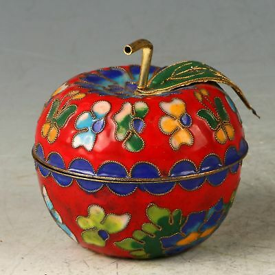 Chinese Cloisonne Handwork Carved Apple Shape Box