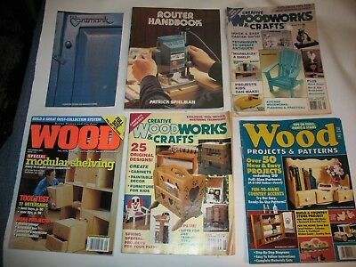 LOT OF 6 Magazines/Books  Wood Projects & Patterns Router Handbook Artmark Craft