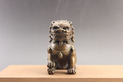 Exquisite  Chinese hand carved lion brass statue  ar3