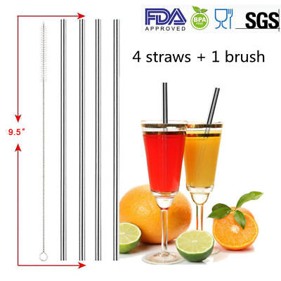 4 Straight Drinking Straws Stainless Steel Straws&One Clean brush For Daily Use
