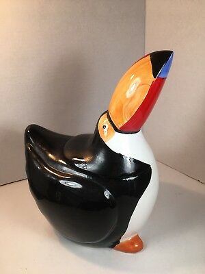 Vintage Coco Dowley Toucan Bird Cookie Jar Black White Red Blue Orange