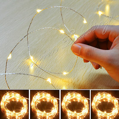 20/50/100LED Battery Micro Rice Wire Copper Fairy String Light Party White/RGB^^
