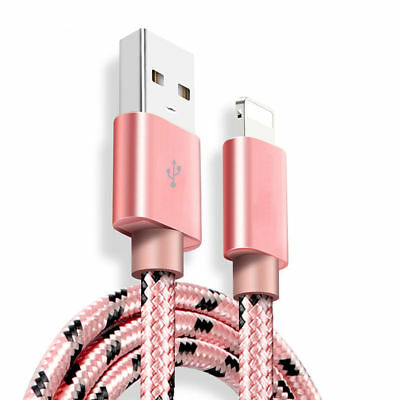 1.8M USB Data Charging Cable Charger cord for Apple iPhone X 8 7 6 5 iPad 4 PINK