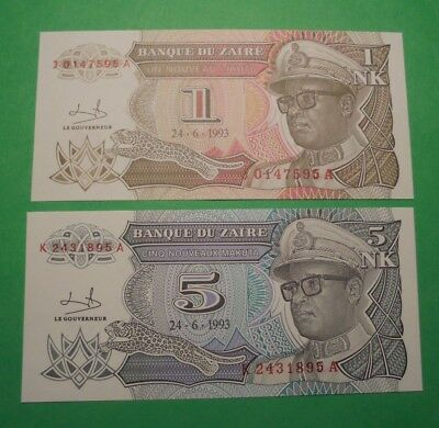 2 Unc Banknotes From Zaire 1993