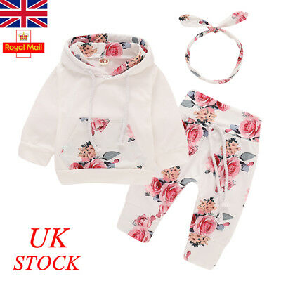 UK Baby Girls 3PCs Floral Outfits Set Newborn Toddler Clothes Tops Pants Romper