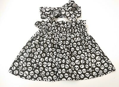 Skull Print Baby's Skirt and Headwrap New