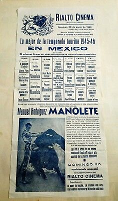 1948 Cartel Rialto Cinema Mejor Temporada  taurina 1945-1946 en Mexico MANOLETE