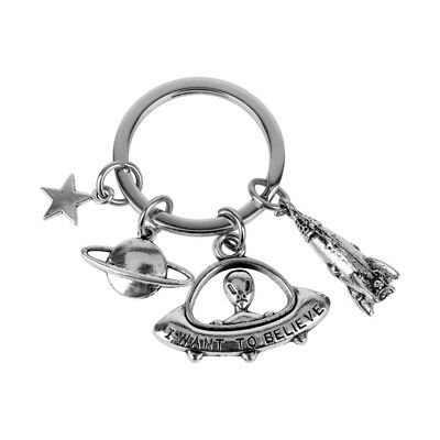 Exquisite Antique I want to believe UFO ET Alien Keyring Spaceship Keychain Ring