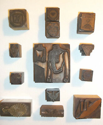 Vintage Printing Block Lot 13 Engraved Copper Advertising Printers Print Blocks