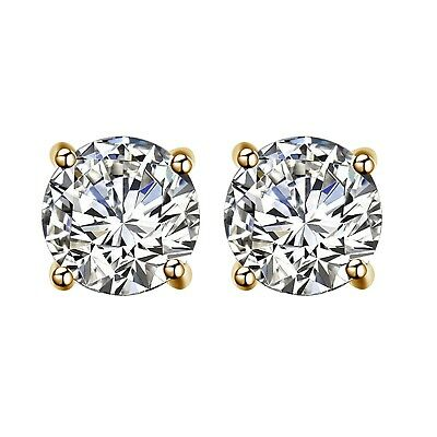 Round Cut Diamond 14K Yellow Gold Over Womens Stud Earrings