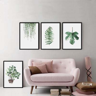 Green Plants Canvas Art Print Poster Vivid Leaf Painting Wall Pictures %