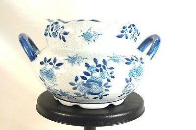 Vintage Asian Chinese Porcelain Blue White Crackle Serving Bowl w Handles