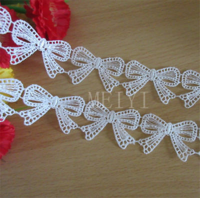 2 Meters White Butterfly Bow Lace Edge Trim Ribbon Wedding Applique Sewing Craft