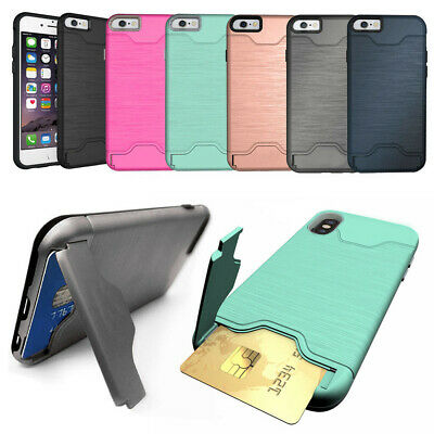 Protective Armor Hard Phone Case Cover Card Holder For Samsung Galaxy S7 S8 S9 +