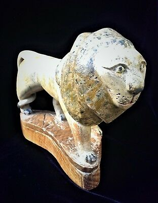 Antique English Folk Art Carving Oak Lion Painted Sculpture Signed Date 1914 WW1