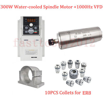 CNC 300W Spindle Motor ER8 Water-Cooled 1000Hz +400W VFD+10pc Collets+Bracket